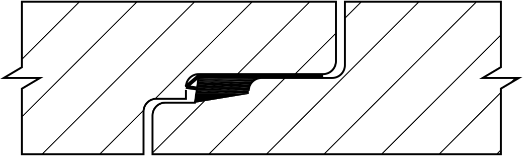 Lamell-Gasket position after joint connection